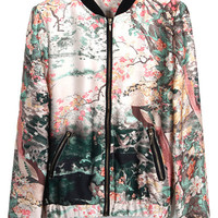 Floral Print Stand Collar Jacket