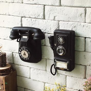 Shabby Chic Style Vintage Home ,Decor Accessories Restoring Ancient Ways, Wall-mounted Telephone