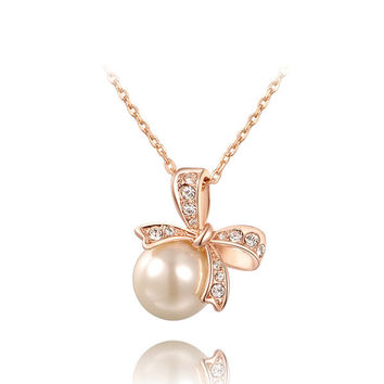 Ribbon Pearl Necklace
