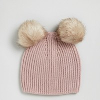 ASOS Rib Beanie With Double Faux Fur Pom at asos.com