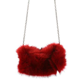 Burgundy Faux Fur Goddess Clutch