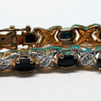 Vintage Sterling Silver with Vermeil Gold X's & O's  Sapphire Tennis Bracelet 7 1/2 inches