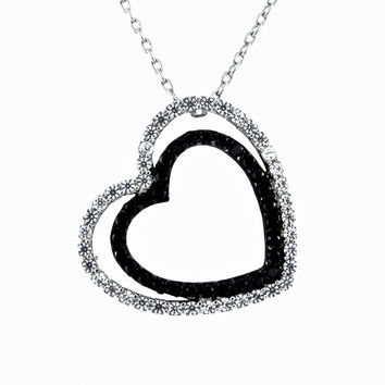 A Vintage Black Diamond Russian Lab Diamond Double Pave Heart Solitaire Pendant Necklace