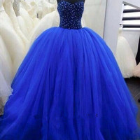 Sweetheart Royal Blue Dresses Ball Gowns Beaded Tulle Formal Prom Dresses Quinceanera Dresses Alternative Measures - Brides & Bridesmaids - Wedding, Bridal, Prom, Formal Gown