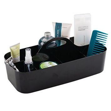 mDesign Cosmetic Organizer and Makeup Tote Caddy - Large, Black