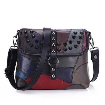 Genuine Leather Women Messenger Bags Rivet Patchwork Crossbody Bags Female Fashion Designer Handbags Shoulder Bag
