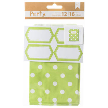 DIY Party Treat Bags & Labels-Green & White