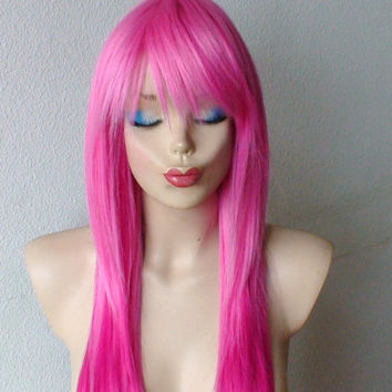 Spring Special // Pink / Hot Pink Ombre wig.  Long straight hair  wig. High quality Heat resistant Synthetic wig.
