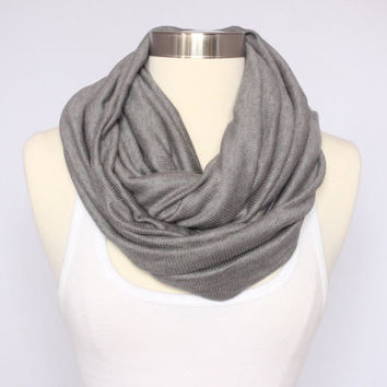 Ribbed Jersey Scarf - Grey