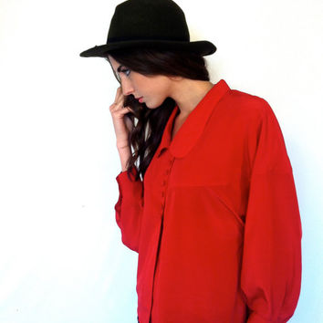 Vintage Blouse Red Shirt Cape Button up Red Silk Blouse