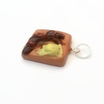 Charm ~ Waffle Charm with Butter and Syrup ~ Polymer Clay Charm ~ Necklace Charm ~ Bracelet Charm ~ Inedible Art ~ Made to Order