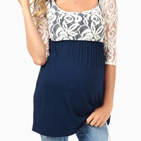 Navy Blue Ivory Lace Top 3/4 Sleeve Maternity Top