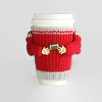 Coffee cozy. College football. Tumbler sleeve. Ohio State college. Football team. Sport travel mug.  Mug sweater. Gift for him Football gift