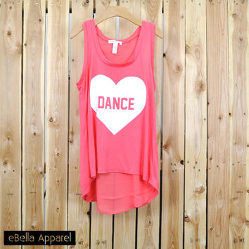 Dance Heart - Women's Flowy High Low Coral, Graphic Print Tank Top