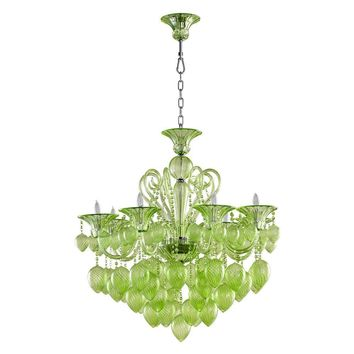 Bella Vetro Murano Glass 8 Light Chandelier | Green
