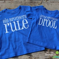 Set of 2 BIG and LITTLE BROTHERS, baby boy t-shirt and toddler tee shirt set