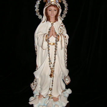 OOAK Redesigned Vintage Our Lady of Fatima with Replica Crown Corona Gold Filigree Trim w/Rhinestone Halo and Rhinestone Dress Accents