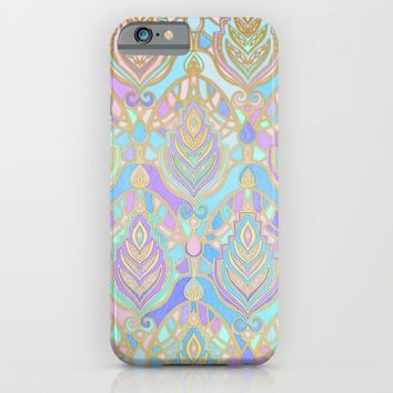 Jade & Blue Enamel Art Deco Pattern iPhone & iPod Case by Micklyn