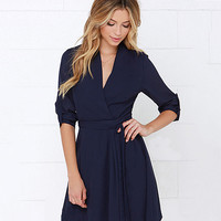 Autumn Stylish High Rise Pullover V-neck Long Sleeve Ladies One Piece Dress [6281579204]