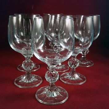 Claudia Bohemia Crystal Water Glasses-Faceted Ball Stems