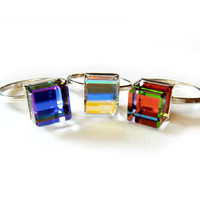Color Changing Geometric 3D Crystal Cube Stack Ring