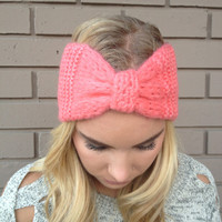 Coral Knit Bow Headband