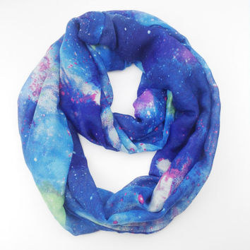Oversize Universe Galaxy Space Star Infinity Scarf Fashion Ladies Soft Lightweight Blue Super Star Viscose Scarf Shawl