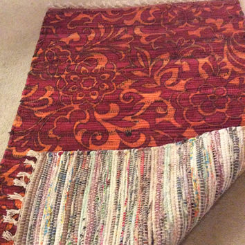 Rag rug, Chindi cotton rug, reversible hand painted, Scandanavian Hippie Rug, small area rugs, 4' by 3'