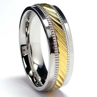 7MM Men's Goldtone Plated Stainless Steel Ring Sizes 7 to 12