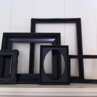 Home Decor Black Vintage Frames Painted Upcycled by FeFiFoFun