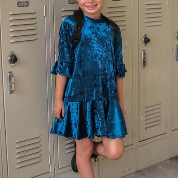 Teal Blue Velvet Girls Flounce Hem Dress w. 3/4 Ruffle Sleeves 4-14