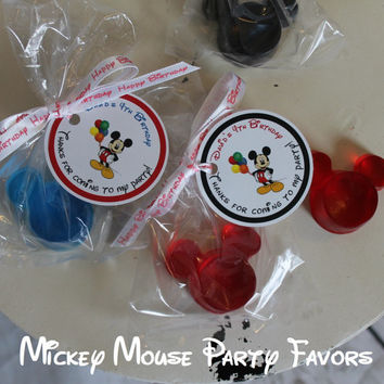 Mickey Mouse Soap Favors - Option for Bags Ribbons & Personalized Tags for Mickey Mouse Birthday Party Favors - Pack of 10