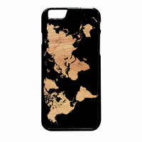 World Map On Wood Texture Print iPhone 6 Plus Case