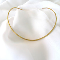 Gold hammered torque, brass choker, thick wire collar, gift under 30