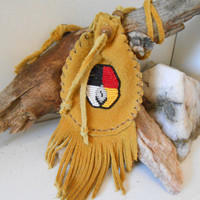 Beaded Medicine Bag, Handmade, Medicine Wheel Bead Design, Hand Sewn, Amulet Bag, Leather Pouch, Hippie, Native American, Gold Suede Pouch
