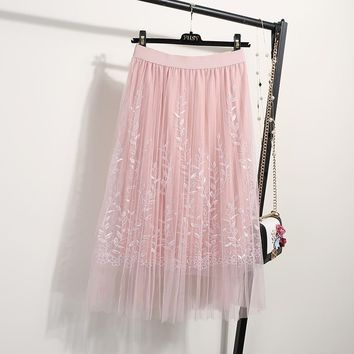 NORMOV Female Midi Skirt Summer 2019 Embroidery A-line Tutu Lace Mesh Skirts Womens Elegant Tulle Long Casual Pleated Skirts