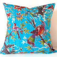 "Kantha Cloth Pillow Cover, 16"" x 16"": Authentic Vintage Kantha Quilt in Vibrant Turquoise & Multi-Colored Pattern"