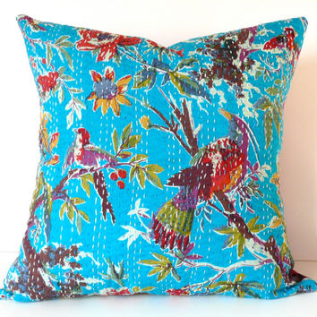 """Kantha Cloth Pillow Cover, 16"""" x 16"""": Authentic Vintage Kantha Quilt in Vibrant Turquoise & Multi-Colored Pattern"""