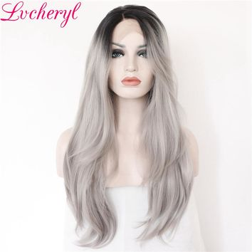 Black Ombre Gray Long Wave Hand Tied Synthetic Lace Front Wig Heat Resistant Natural Hairline Hair Wigs for Women