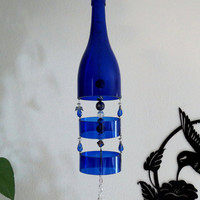 Recycled wine bottle wind chime, Cobalt blue glass, yard art, patio decor, Wind chime, angel beads, blue glass wind chime