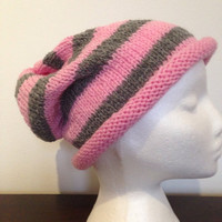 Handmade knitted pink & grey striped Slouch Hat/Beanie, pink slouch, pink beanie, ladies slouch, slouchy beanie