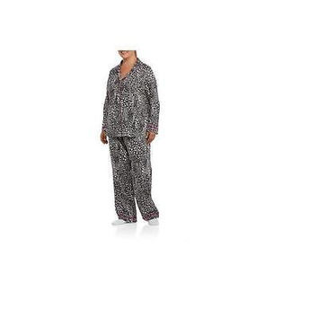 Unbranded Women's Long Sleeve Notched Collar Pj Set, Small, Black/White Animal