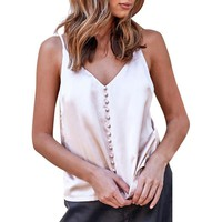 Elegant v neck Satin camisole tank top Casual summer backless buttons women tops Sexy sleeveless sleepwear