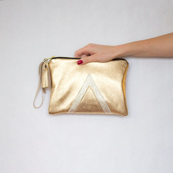Gold Metallic Leather Clutch // Geometric Wristlet // Valentine Day's // Art Deco Wedding Bag // Bridesmaid
