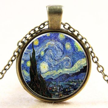 Creative Vincent Van Gogh Painting Necklace Best Selling Handmade Glass Moonlight Necklaces Jewelry