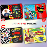Mickey Disney with Curious George - Invitation Card - Birthday Party Kids - InviteKids