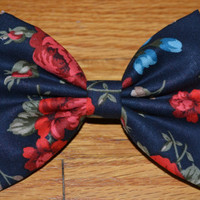 Navy and Red Floral Hair Bow