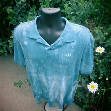 XXL Mens or Teens Gap upcycled polo. All cotton shirt, easy care, prewashed, indigo,