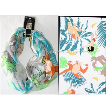 "Licensed cool Disney Jungle Book Mowgli & Baloo Infinity Neck Scarf  72"" x 22 Hot Topic NEW"