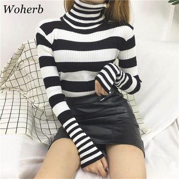 Woherb Casual Turtleneck Sweater Women Winter 2018 Knitted Pullover Korean Harajuku Striped Sweaters Pull Sueter Mujer 20105